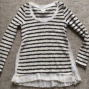 Anthropology Stripe Ruffle Sweater